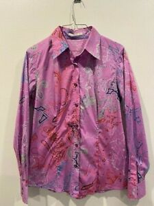 ETRO PAISLEY PRINT PINK BUTTON DOWN BLOUSE 46 6