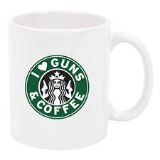 I LOVE COFFEE AND GUNS GUN RIGHTS 2nd AMENDMENT 11 oz USA PRINT CUP  MUG