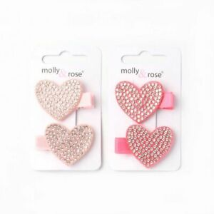 2no diamante heart motif ribbon covered fork clips weddings occasions UK Seller.