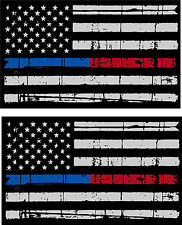 """Tattered Police Fire Thin Blue & Red Line American Flag Decals x 2 - 3"""" x 1.75"""""""