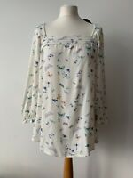 Laura Ashley Butterfly Blouse Size 14 Swuare Neck Line   Cream   New