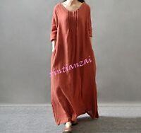 Womens Hemp Linen Maxi Dress Regular Loose Dress Stylish Hot robe full length