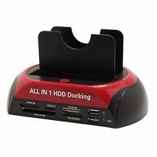 2.0 Dual SATA IDE HDD Docking Station Clone Hard Drive Card Reader