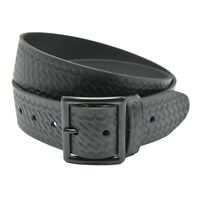 Boston Leather 6605-3-44 Mens Black Basketweave Value Line Nickel Garrison Belt
