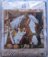 Horse and Cat Vervaco Needlepoint Pillow Kit Quick Stitch 16x16 NIP Vintage