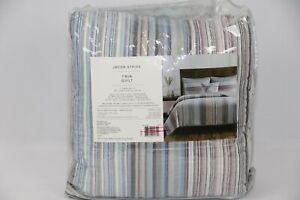 "Jacob Stripe Quilt Bedspread Lightweight Twin In Mauve, Blue, Gray 68"" x 86"""