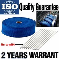 """Super 2"""" x 50FT Manifold Header Exhaust Thermal Heat Tape Wrap + Ties -Blue"""
