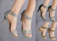 LADIES DIAMANTE GLITTER MID HEEL PEEP TOE ANKLE STRAP SANDALS SHOES PARTY PROM