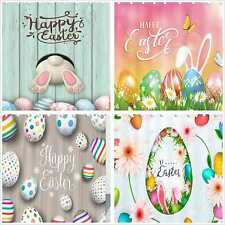 Easter Theme Fabric Shower Curtain &12 Hooks Set eggs rabbit Bathroom Waterproof