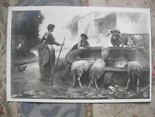 CPA tableau Salon peinture 1906 Guérin L'abreuvoir Ferme paysans moutons