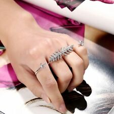 Leaves Design Personality Circle Opening Rhinestone Finger Ring Double Ring