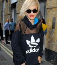 Adidas X Rita Ora Black Mesh Track Top Hoodie Jacket Hood Uk 10 S small