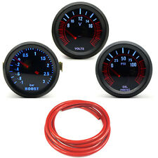 52mm AGG-1 Smoked Turbo Boost 3 Bar + Oil Pressure + Volt Gauge Red Hose