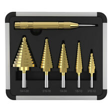 New listing 6pcs Drill Titanium Bits Set Hss Step Steel Cone Kit Hole Cutter + Aluminum Case