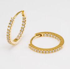 Womens Diamond Micro Pave Huggies Hoop Earrings 18k Yellow Gold