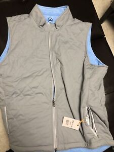 Men's Peter Millar Crown Sport Quilted Vest Reversible XL Gale/Blue, NWT 🔥