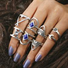 8Stk./Set Midi Ringe Fingerring Fingerspitzenring Knöchelring Kristall Neu