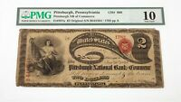Lazy Deuce $2 Ch #668 National Currency Note Fr #387a Graded by PMG as VG 10