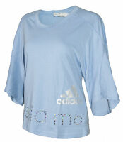 adidas Stella McCartney Women's Top T-Shirt Shiny Logo 3/4 Sleeve Oversizes BNWT
