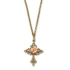 "Pink Porcelain Rose & Crystal Cross 18"" Necklace Gold Tone 1928 Boutique"