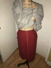 J. CREW Wool Blend Burgundy Pencil Skirt Tan Stitched Size 2P