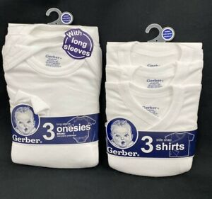 Gerber 6-piece Side Snap Shirt and Onesies Bodysuit Bundle - Newborn- 0-3 Months