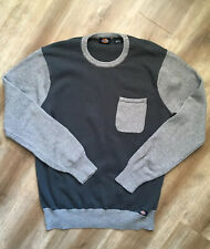 DICKIES Sweater Size Large Mens Gray Colorblock Crewneck Cotton Knit Top