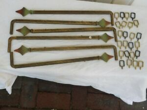 6  Antique Vintage Expandable Swing Arm Curtain Drapery Rods 4 Brackets 36 Hoops