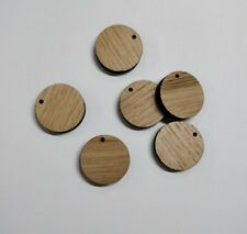 Wooden Solid Oak  round wood Keyring blanks key rings 7mm thick laser cut