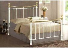 3FT SHELBY METAL BED FRAME IVORY & BRASS FREE NEXT DAY DELIVERY!