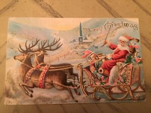 Antique 1907 Embossed Christmas Postcard Santa Riding in Sleigh  American Flags
