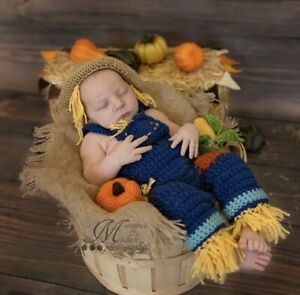 Uk Newborn Baby Photography Knit Scarecrow Farmer Style Costume Outfit 2 Prop