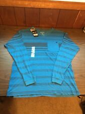 NWT SALT LIFE BEAUTIFUL BLUE LONG SLEEVE POCKET SHIRT Size Large Striped V-Neck