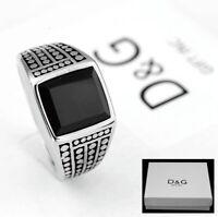 DG Men's silver.Stainless Steel,Wedding Black Onyx Ring Size 8 9 10 11,12,13 Box