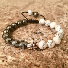 White Natural Howlite & Grey/ Gunmetal heavyweight Hematite Buddha Beaded Mala