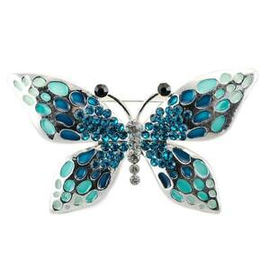 SPARKLING BUTTERFLY BROOCH Pin Crystal NEW Enamel Black Pink Blue HIGH QUALITY