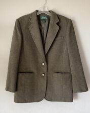 Ralph Lauren Green Tweed Lambswool Blazer Equestrian Horse Buttons Sz 10 (Flaws)