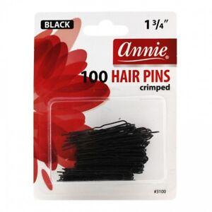 """ANNIE 100 HAIR PINS 1 3/4"""" BLACK #3100 CRIMPED U-SHAPE"""