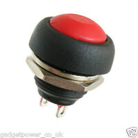 RED WATERPROOF PUSH SWITCH - BUTTON - NORMALLY OPEN - SPST - FOR 13MM HOLE