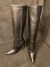 Manolo Blahnik $1295 Black Leather Pointed Toe Knee Boots, size 36-1/2 - worn 1x