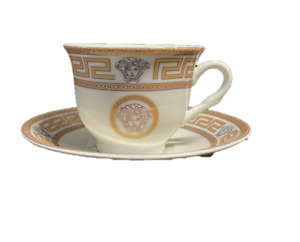 12 Pcs Gold Greek Key Design  Espresso/Coffee Cup/Saucer Set For 6 Persons