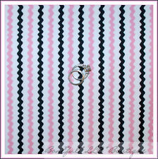 BonEful Fabric FQ Cotton Quilt White Black PINK STRIPE B&W Rick Rack VTG Chevron