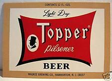 Topper Pilsner Beer Bottle Label Hammonton NJ