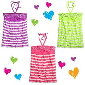 NWT Justice Girls NEON STRIPED RUFFLE BANDEAU Top LIME PURPLE PINK  8 10 12 14