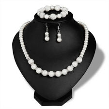 Cream Ivory Pearls Cluster Ball Drop Dangle Earrings Necklace Bracelet S991