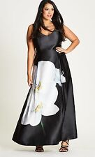 City Chic Statement Floral Prom Satin Wedding Formal Plus Dress 18W NWT