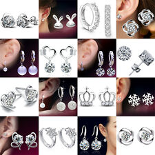 Fashion 925 Sterling Silver Crystal Stud Earrings Studs Women Xmas Gifts Jewelry