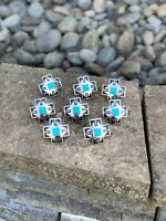 Wild Rag Slide Southwestern Cross With Silver And Turquoise (1)