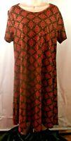 LulaRoe Sz L Knit Dress Short Sleeve Brown & Pink Floral Print
