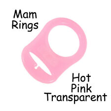 1 Hot Pink Silicone Nuk Button MAM Ring Dummy / Pacifier Holder Clip Adapter